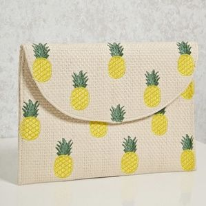 Pineapple Embroided Straw Clutch